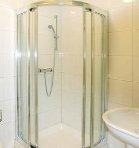 Bathroom with spacious shower